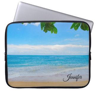 Protection Pour Ordinateur Portable Coutume tropicale de sable et de mer de Sun de
