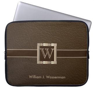 Protection Pour Ordinateur Portable Cuir classieux de chocolat de monogramme