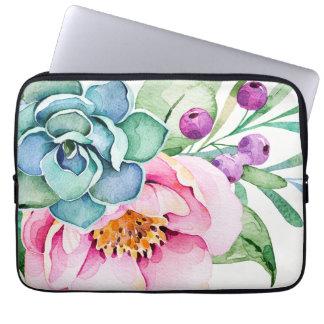 Protection Pour Ordinateur Portable Fleurs colorées d'aquarelles et cactus vert