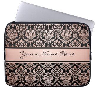 Protection Pour Ordinateur Portable Motif rose de damassé du gradient | d'or sur le