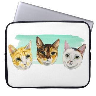 Protection Pour Ordinateur Portable Peinture d'aquarelle de trois minous