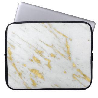 Protection Pour Ordinateur Portable Pierre de marbre blanche et parties scintillantes