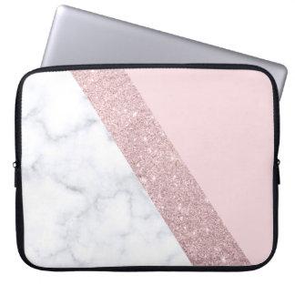 Protection Pour Ordinateur Portable rose de marbre blanc de parties scintillantes