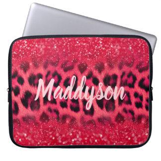 Protection Pour Ordinateur Portable Taches de léopard de parties scintillantes de rose