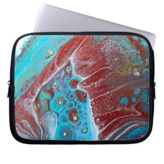 Protection Pour Ordinateur Portable Teal et abrégé sur acrylique d'en cuivre