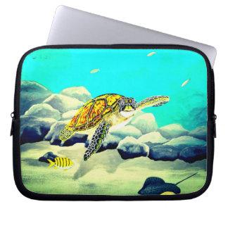Protection Pour Ordinateur Portable Tortue de mer peignant la belle mer bleue