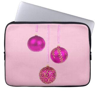 Protection Pour Ordinateur Portable Trois boules roses de Noël