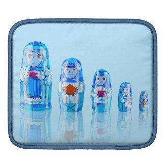 Protection russe bleue d'iPad de poupées de