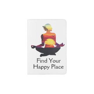 Protège-passeport Coucher du soleil heureux de pose de yoga