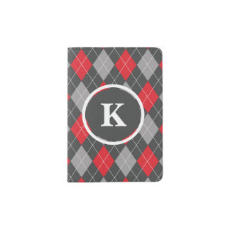 Protège-passeport Monogramme, gris rouge de motif à motifs de