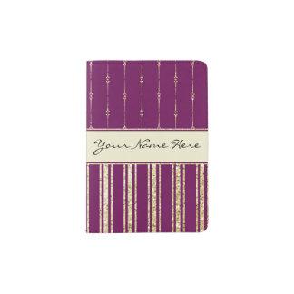 Protège-passeport Rayures personnalisées de scintillement de pourpre