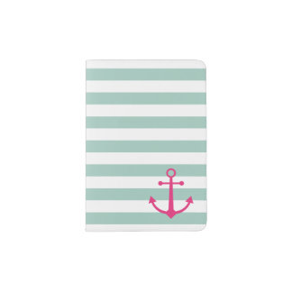 Protège-passeport Support rose rayé de passeport d'ancre