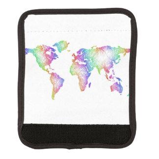 Protège Poignée Pour Bagage Carte du monde d'arc-en-ciel