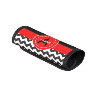 Protège Poignée Pour Bagage Chevron rouge noir
