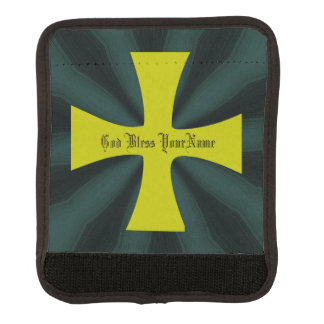 Faux Gold Byzantine Cross on Teal