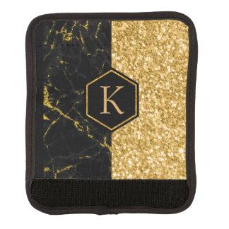 Protège Poignée Pour Bagage Dessin géométrique noir de scintillement de marbre