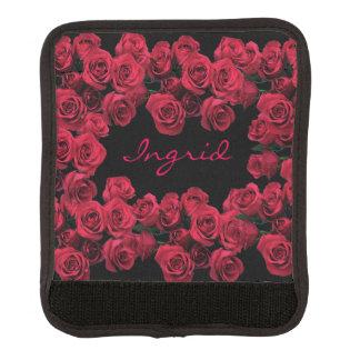 Protège Poignée Pour Bagage Enveloppe rouge de poignée de bagage de fleurs de