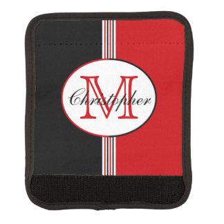 Protège Poignée Pour Bagage Noir et rouge barre le monogramme
