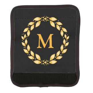 Protège Poignée Pour Bagage Noir romain d'or de monogramme de guirlande de