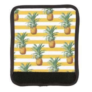 Protège Poignée Pour Bagage rayures jaunes de pinepples