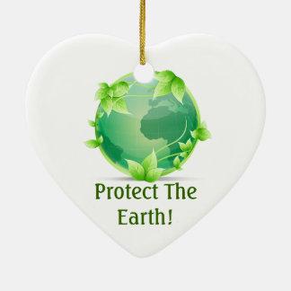 Protégez la terre ornement cœur en céramique