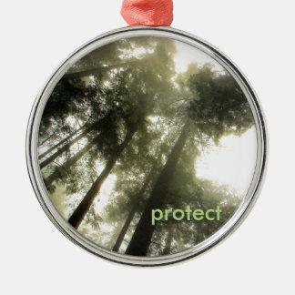 Protégez nos forêts ornement rond argenté