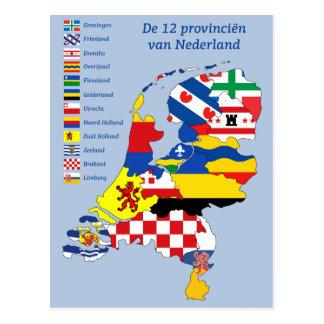 Province flag on le Map de Pays-Bas Carte Postale