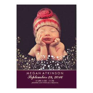 Prune nouveau-née de naissance de photo de bébé du carton d'invitation  12,7 cm x 17,78 cm