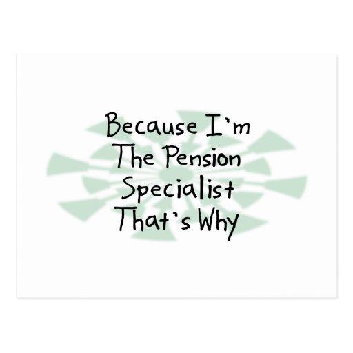 Puisque je suis le spécialiste en pension carte postale