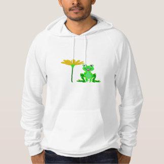 Pull À Capuche petite grenouille et fleur jaune