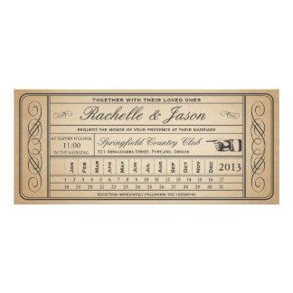 Punchout vintage du billet II de mariage Carton D'invitation