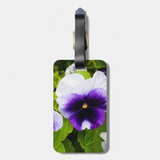 Purple_And_White_Pansies, _ Étiquette À Bagage