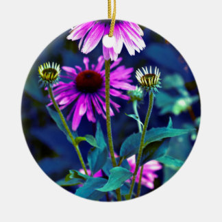 Purple Coneflowers Ornement Rond En Céramique