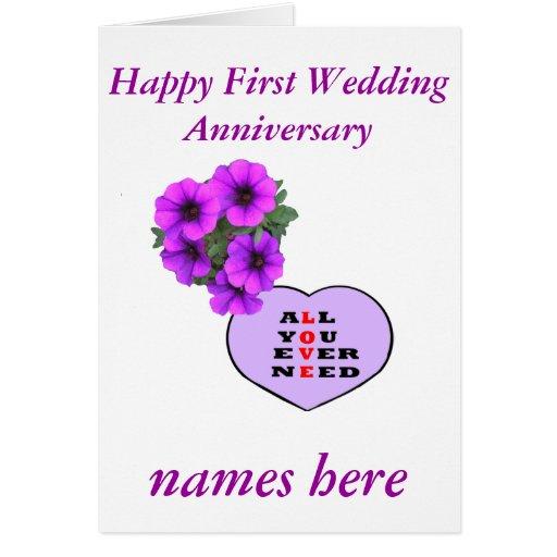Purple Heart en de bloemenVerjaardag voegen namen Wenskaart