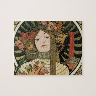 Puzzle Affiche vintage de Nouveau Mucha Trappestine d'art