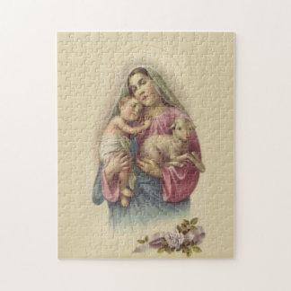 Puzzle Agneau béni de Jésus de bébé de mère de Vierge