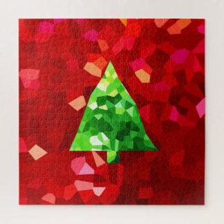 Puzzle Arbre de Noël moderne rouge de vacances en verre