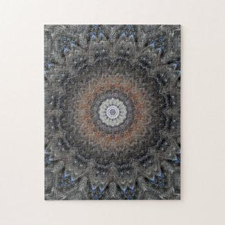 Puzzle Argent complexe, rouille et mandala bleu