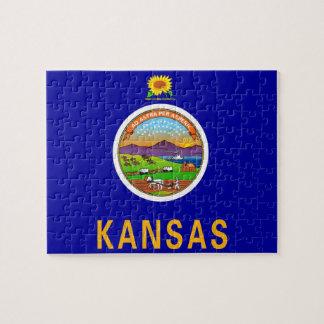 Puzzle avec le drapeau de l'état du Kansas