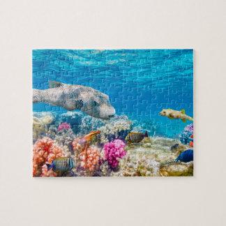 Puzzle beau monde sous-marin de poissons, cabot de douche