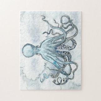 Puzzle bleu de photo du poulpe 11x14 avec la