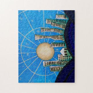 Puzzle bleu de ville de désert