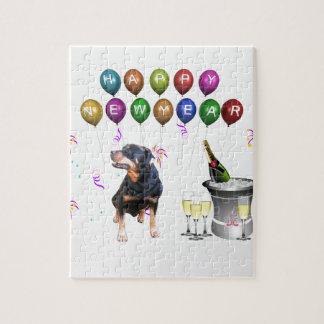 Puzzle Bonne année de chien de rottweiler