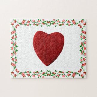 Puzzle Cadre de rose coeur