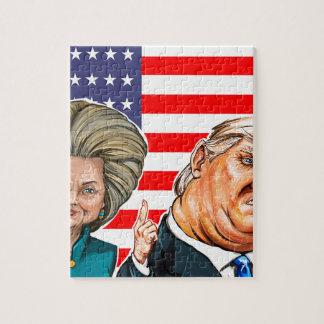 Puzzle Caricature d'atout et de Hillary