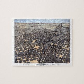 Puzzle Carte aérienne antique de ville de San Antonio, le