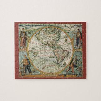 Puzzle Carte de Vieux Monde antique des Amériques, 1597