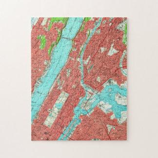 Puzzle Carte vintage de Manhattan de la ville haute et de