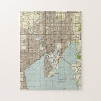 Puzzle Carte vintage de Tampa la Floride (1944)