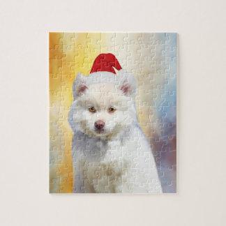 Puzzle Casquette américain de Père Noël de Noël de chien
